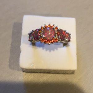 Stamped 925(sterling silver) Orange opal   Size 9